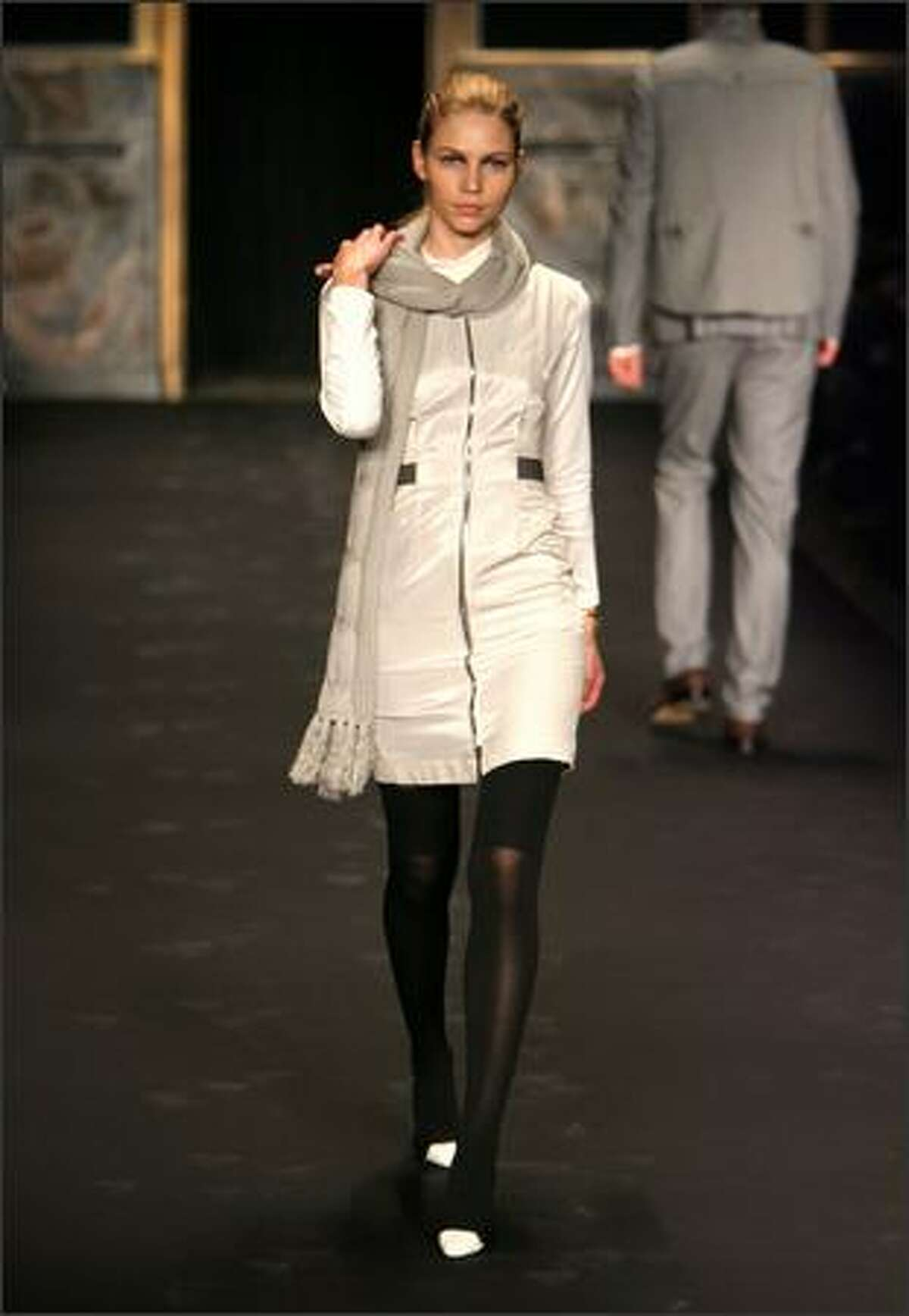 A model walks the runway at the Rag & Bone fall 2008 fashion show during Mercedes-Benz Fashion Week at Cipriani 42nd Street in New York.