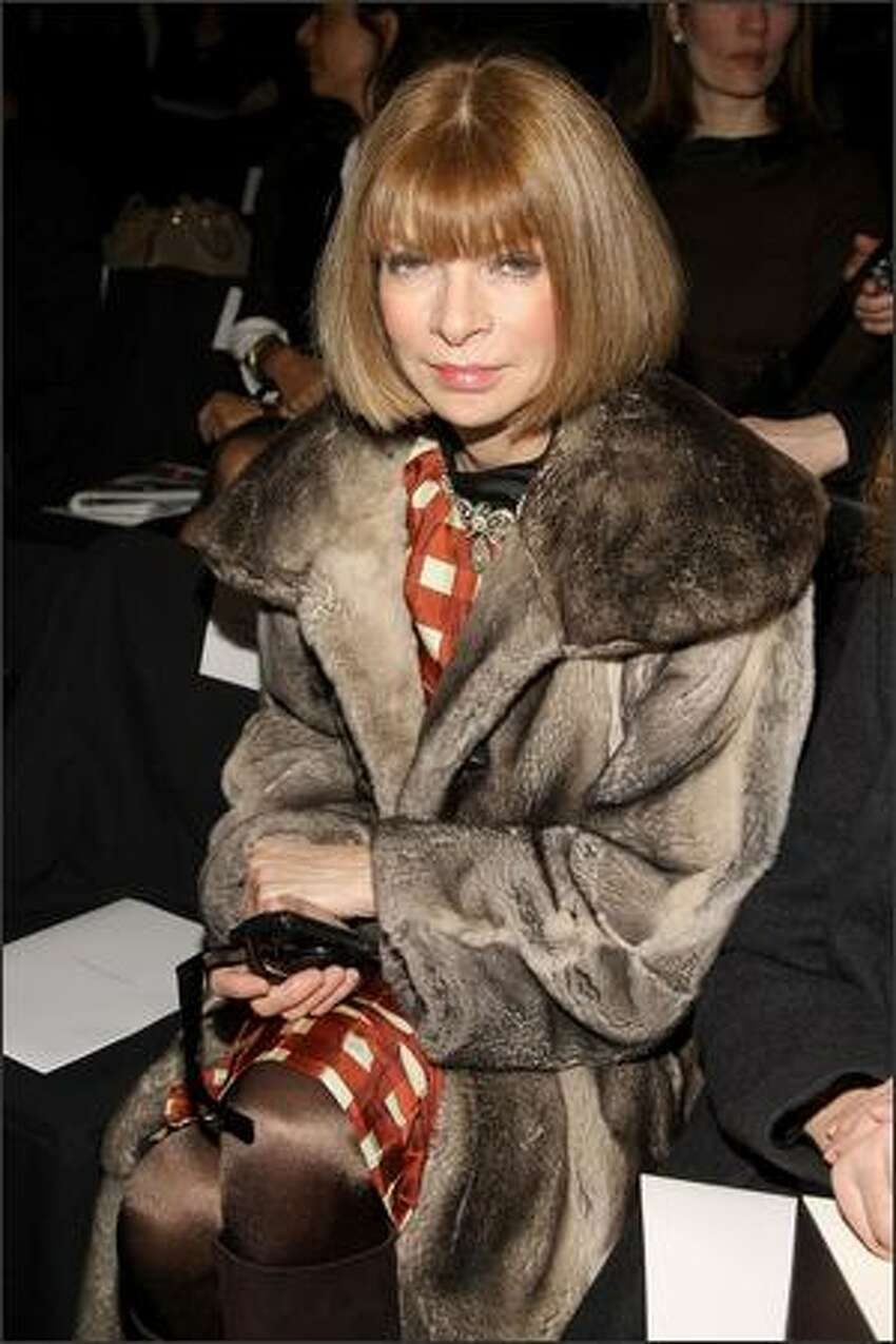 Editor-in-chief of Vogue Anna Wintour attends the Carolina Herrera 2008 fashion show during Mercedes-Benz Fashion Week Fall 2008 at The Tent at Bryant Park in New York City.