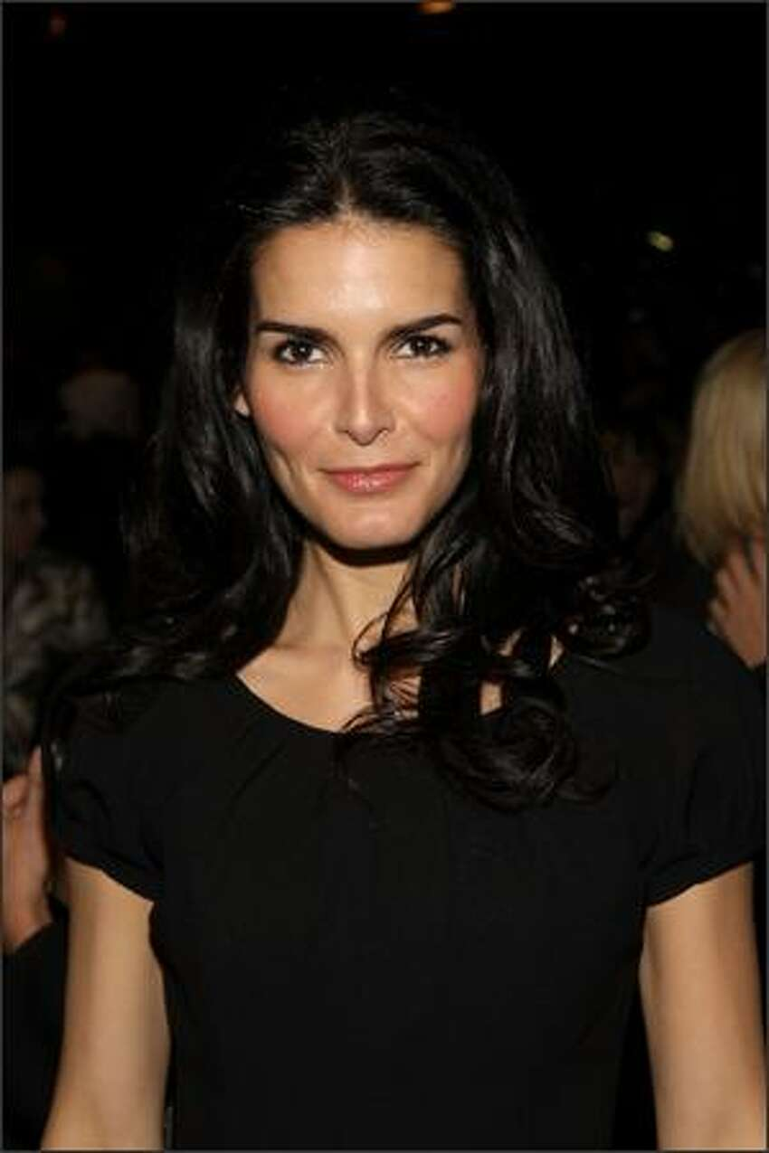 Actress Angie Harmon attends the Carolina Herrera 2008 fashion show during Mercedes-Benz Fashion Week Fall 2008 at The Tent at Bryant Park in New York City.