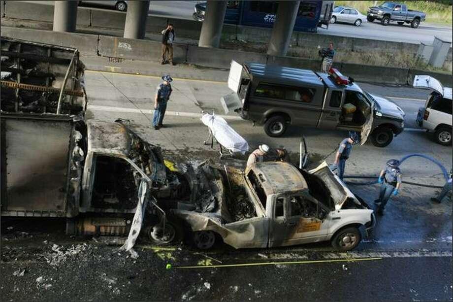 Fiery crash near Southcenter kills one, blocks freeway for