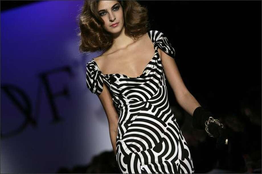 A model presents a creation by Diane von Furstenberg during Mercedes-Benz Fashion Week in New York. Photo: Getty Images