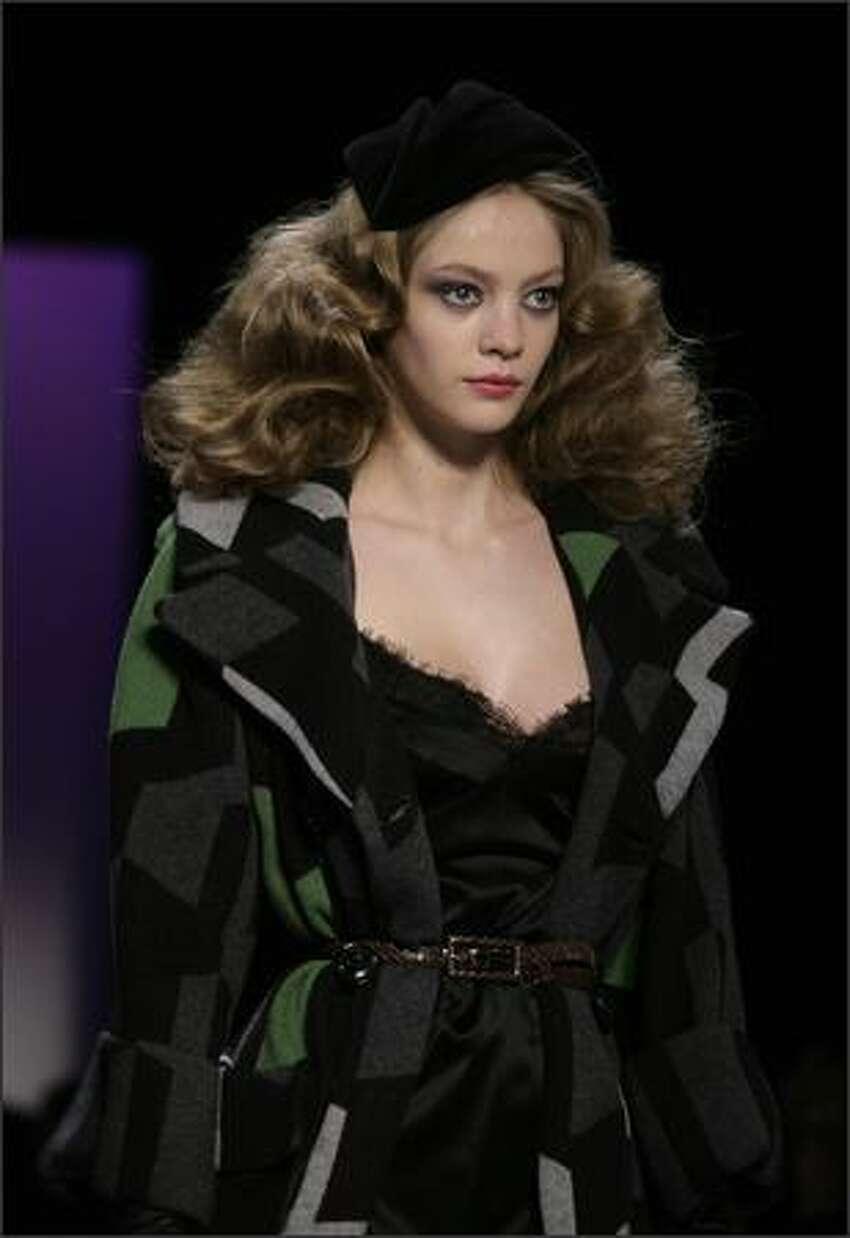 A model presents a creation by Diane von Furstenberg during Mercedes-Benz Fashion Week in New York.