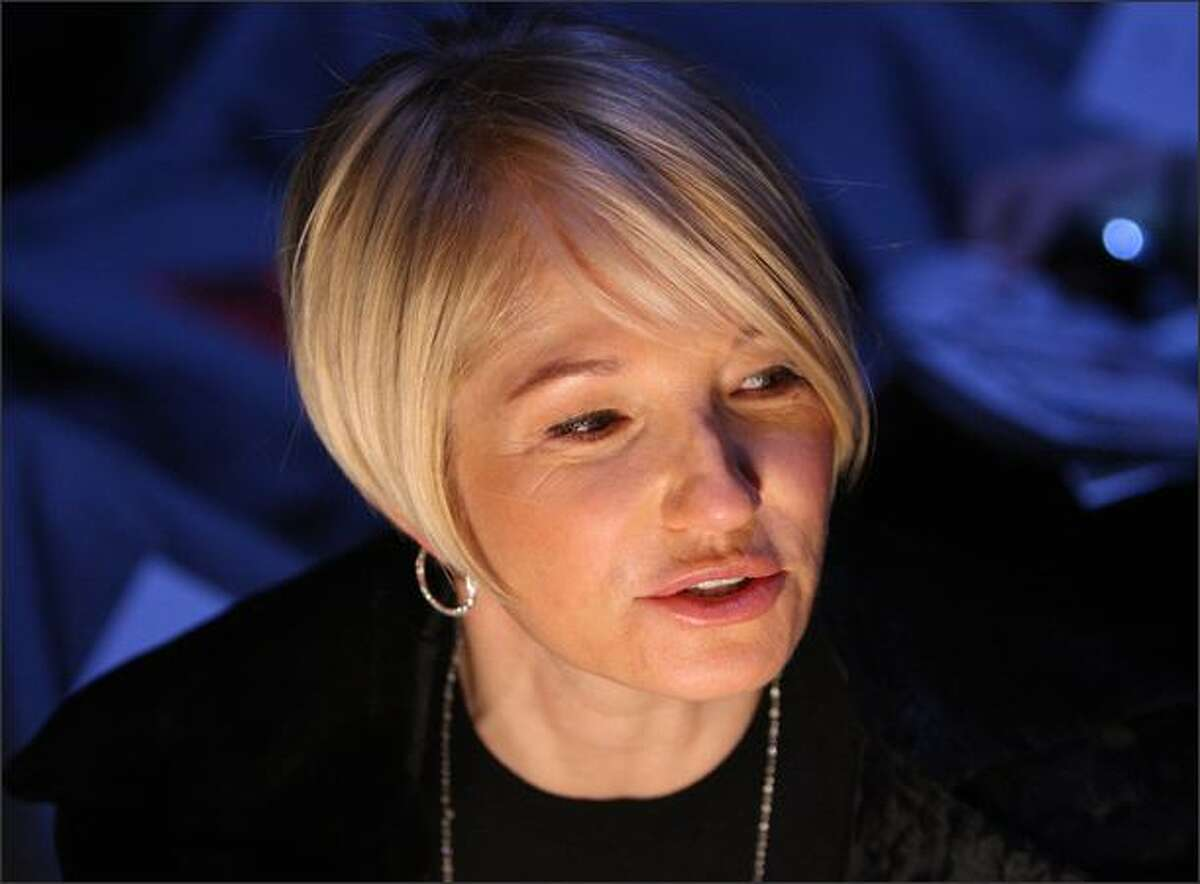 Actress Ellen Barkin attends the Diane Von Furstenberg Fall 2008 fashion show during Mercedes-Benz Fashion Week Fall 2008 at The Tent at Bryant Park in New York City.