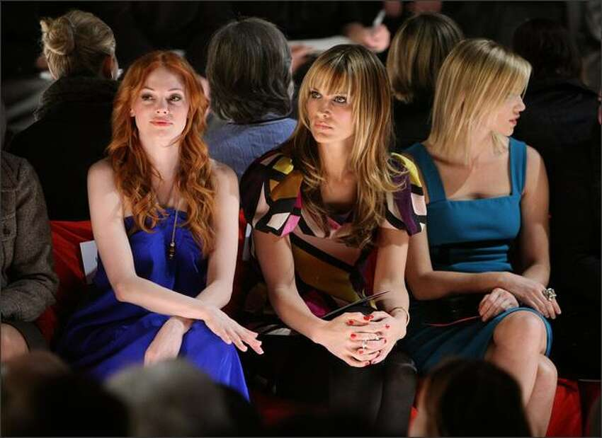 (L-R) Rose McGowan, Melissa George and Joss Stone attends the Herve Leger By Max Azria Fall 2008 fashion show during Mercedes-Benz Fashion Week Fall 2008 at The Promenade at Bryant Park in New York City.