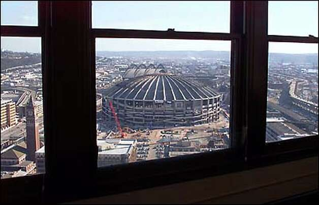 The former Kingdome can be seen from the 32nd floor of the historic Smith Tower in Pioneer Square. Photo: Dan DeLong, Seattle Post-Intelligencer