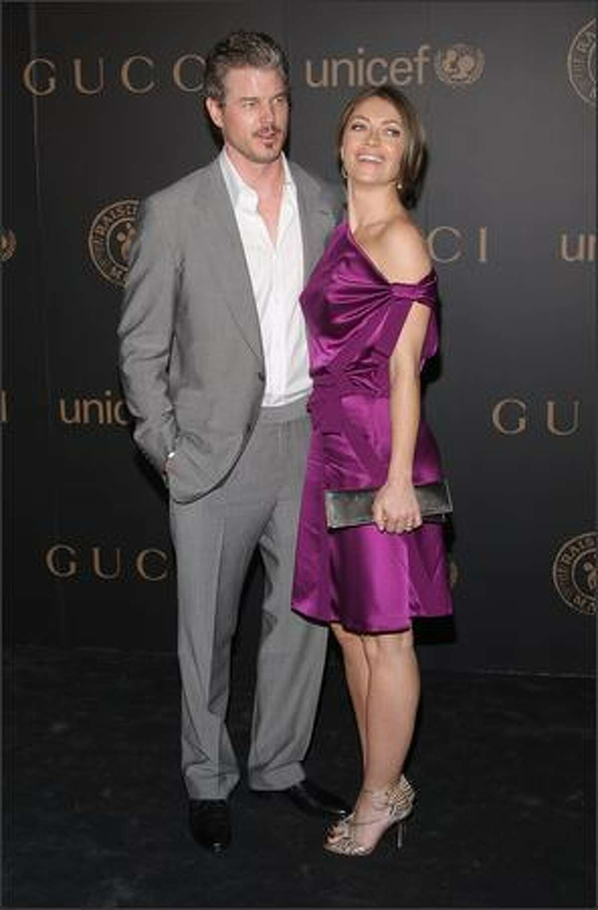 Actor Eric Dane and actress Rebecca Gayheart attend a reception to benefit UNICEF hosted by Gucci during Mercedes-Benz Fashion Week Fall 2008 at The United Nations on February 6, 2008 in New York City.