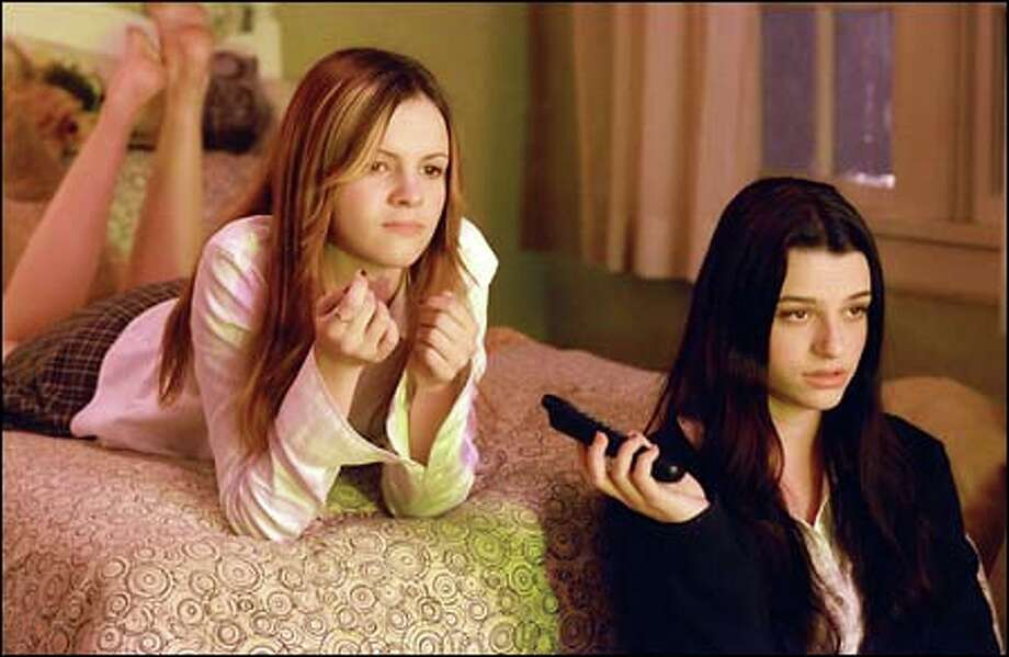 Katie (Amber Tamblyn, left) and Becca (Rachael Bella) exchange urban legends, including the one about a terrifying video that dooms anyone who watches it. Photo: Dreamworks