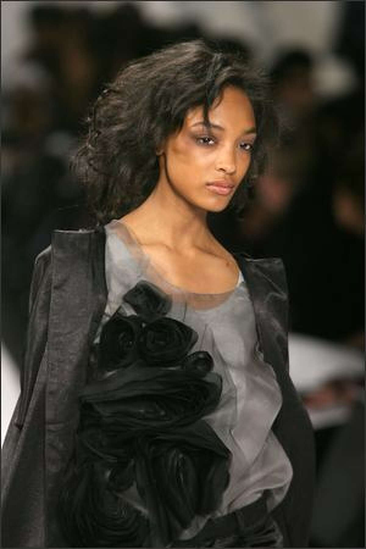 A model walks the runway at the Vera Wang Fall 2008 fashion show during Mercedes-Benz Fashion Week Fall 2008 at The Tent at Bryant Park in New York City.