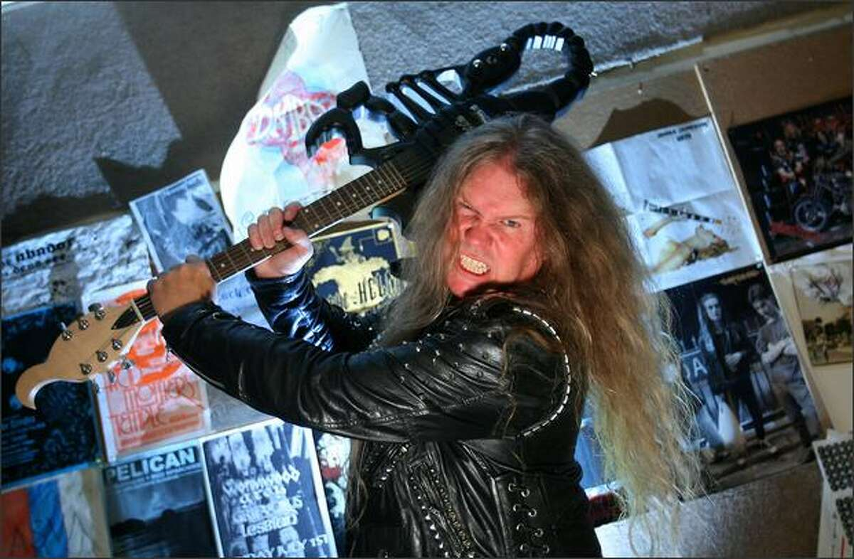 Jeff Gilbert, local music promoter, author, publisher, club owner and heavy metal rocker, in one of the music rehearsal studios he rents out in Seattle.