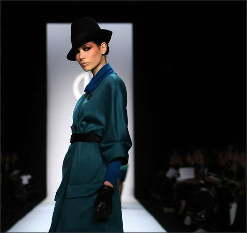 A model walks the runway at the Bill Blass Fall 2008 fashion show during Mercedes-Benz Fashion Week Fall 2008 at The Tent at Bryant Park in New York City.