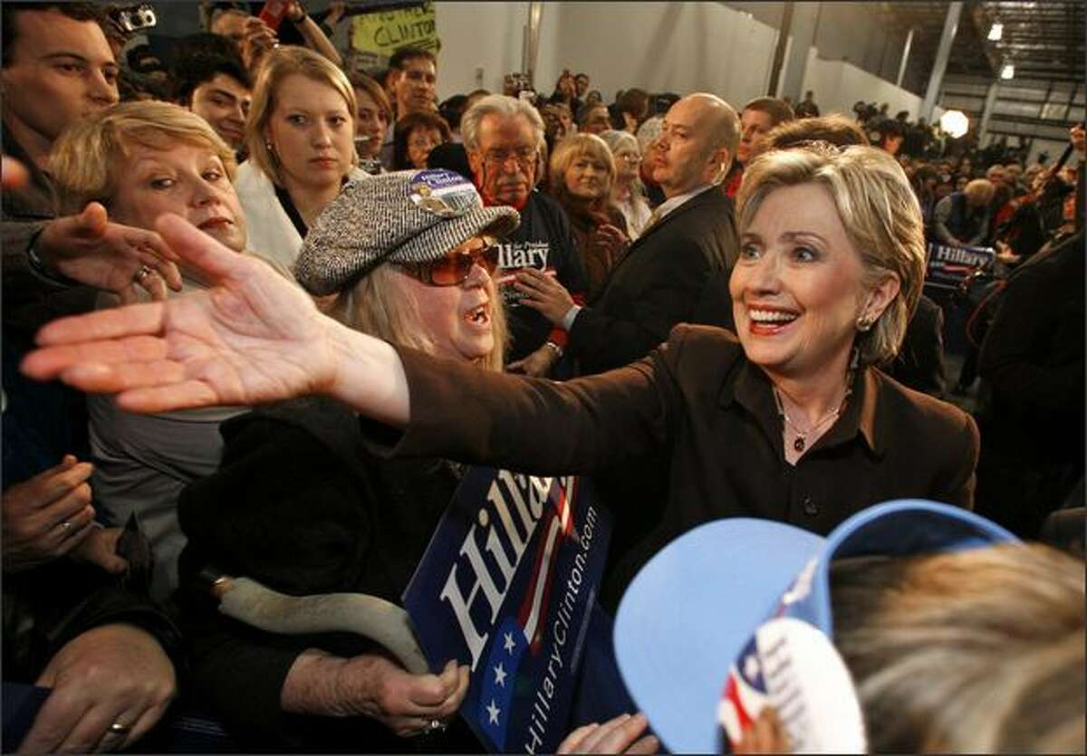 Hillary Clinton greets supporters at Pier 30 in Seattle.