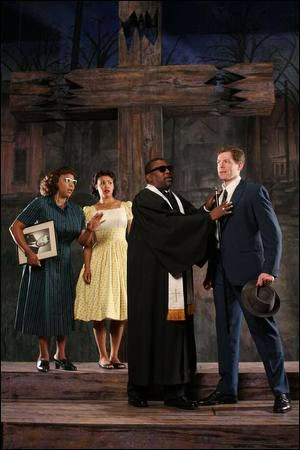Issues of interracial love arise in Village Theatre's West Coast-premiere production. The cast features, from left, Cynthia Jones, Tanesha Ross, Kinsley Leggs and Allan Snyder. Photo: Jay Koh/village Theatre