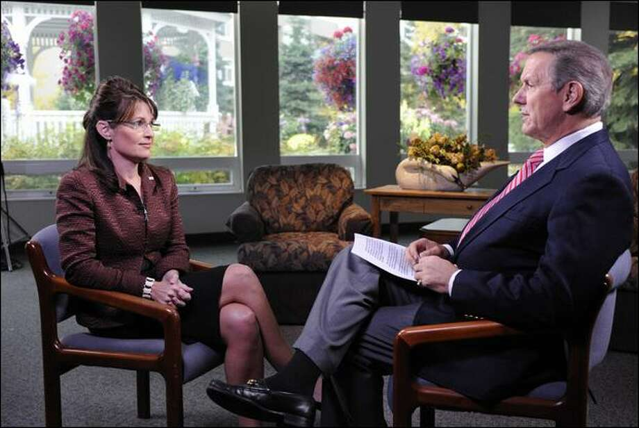 ABC News anchor Charles Gibson interviews GOP vice presidential candidate Sarah Palin on Thursday in Fairbanks, Alaska. Photo: Donna Svennik/Abc Via Ap
