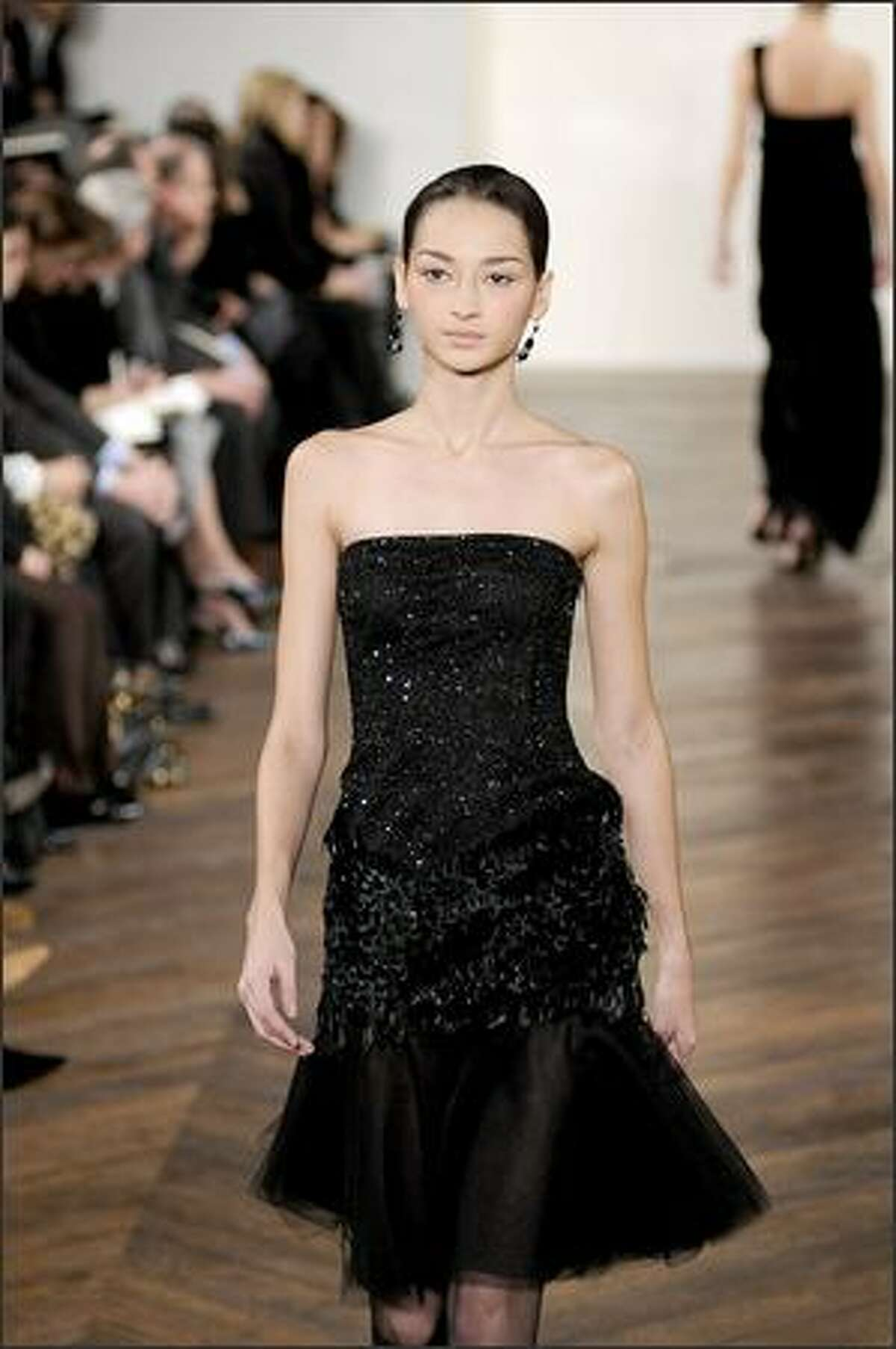 A model walks the runway at the Ralph Lauren Fall 2008 fashion show during Mercedes-Benz Fashion Week Fall 2008 at Skylight Studios in New York City.