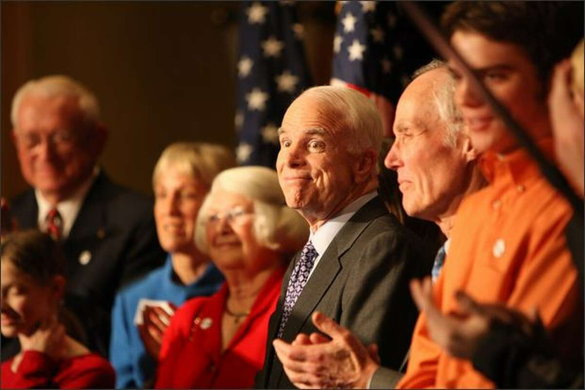 Republican presidential candidate Senator John McCain speaks to supporters during a rally at the Westin Hotel in Seattle.