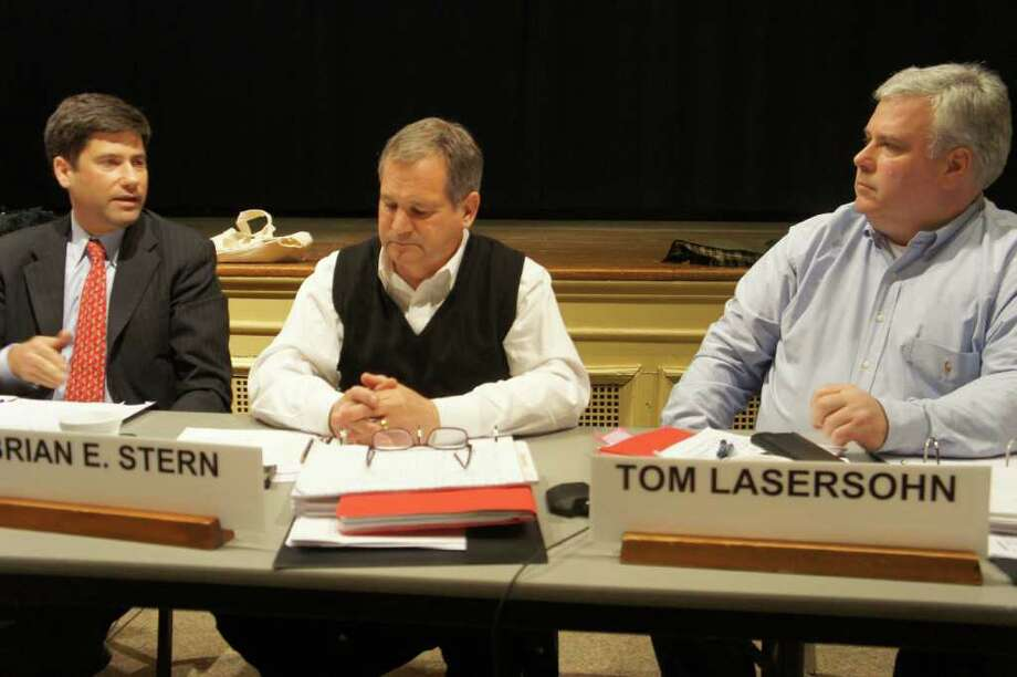 Westport Board of Finance members, from left, Avi Kaner, Brian Stern and Tom Lasersohn review municipal spending plans proposed for 2011-12 by First Selectman Gordon Joseloff at a second budget review session Wednesday night. Photo: Paul Schott / Westport News