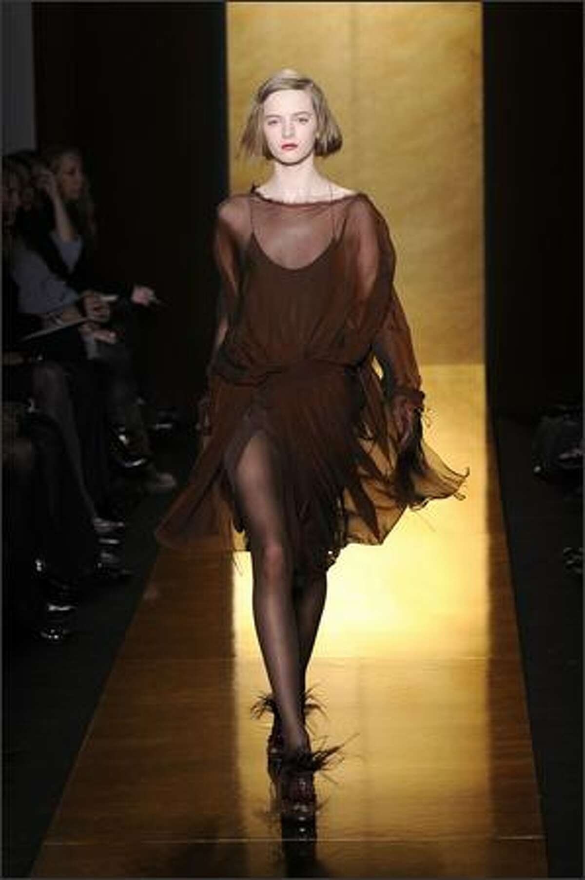A model walks the runway at the Donna Karan Collection fall 2008 fashion show during Mercedes-Benz Fashion Week in New York.