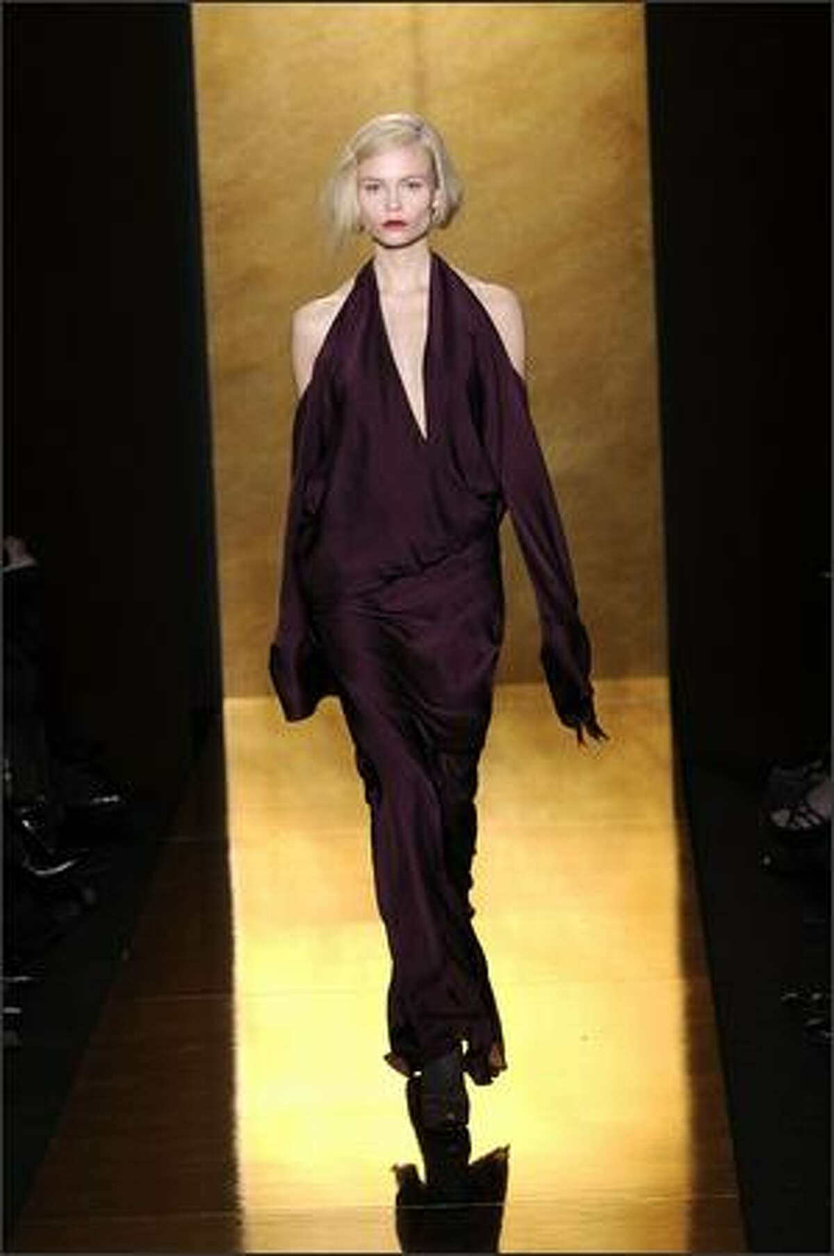 A model displays a creation of the Donna Karan Collection.