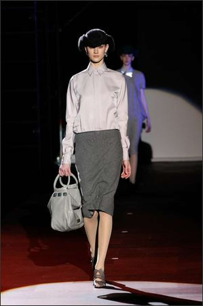A model displays a creation by Marc Jacobs.