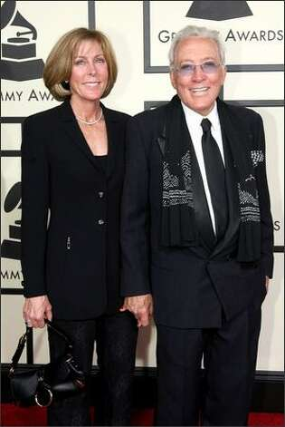 Singer Andy Williams and his wife, Debbie, arrive. Photo: Getty Images