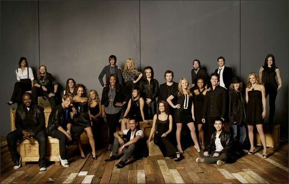 "They are the top 24 contestants in the 2008 season of ""American Idol"": Top row, left-right: Alexandrea Lushington, Robbie Carrico, Jason Castro, Danny Noriega (striped shirt), Brooke White, Amanda Overmyer, Michael Johns, David Cook (bandana), Luke Menard and Carly Smithson (standing far right). Bottom row, left to right: Chikezie Eze, Colton Berry, AsiaÕH Epperson, Kady Malloy (seated, black dress), Joanne Borgella, Ramiele Malubay, David Hernandez (seated, front), Amy Davis, Alaina Whitaker, Syesha Mercado, Jason Yeager, David Archuleta (seated), Garrett Haley and Kristy Lee Cook. Photo: Fox"