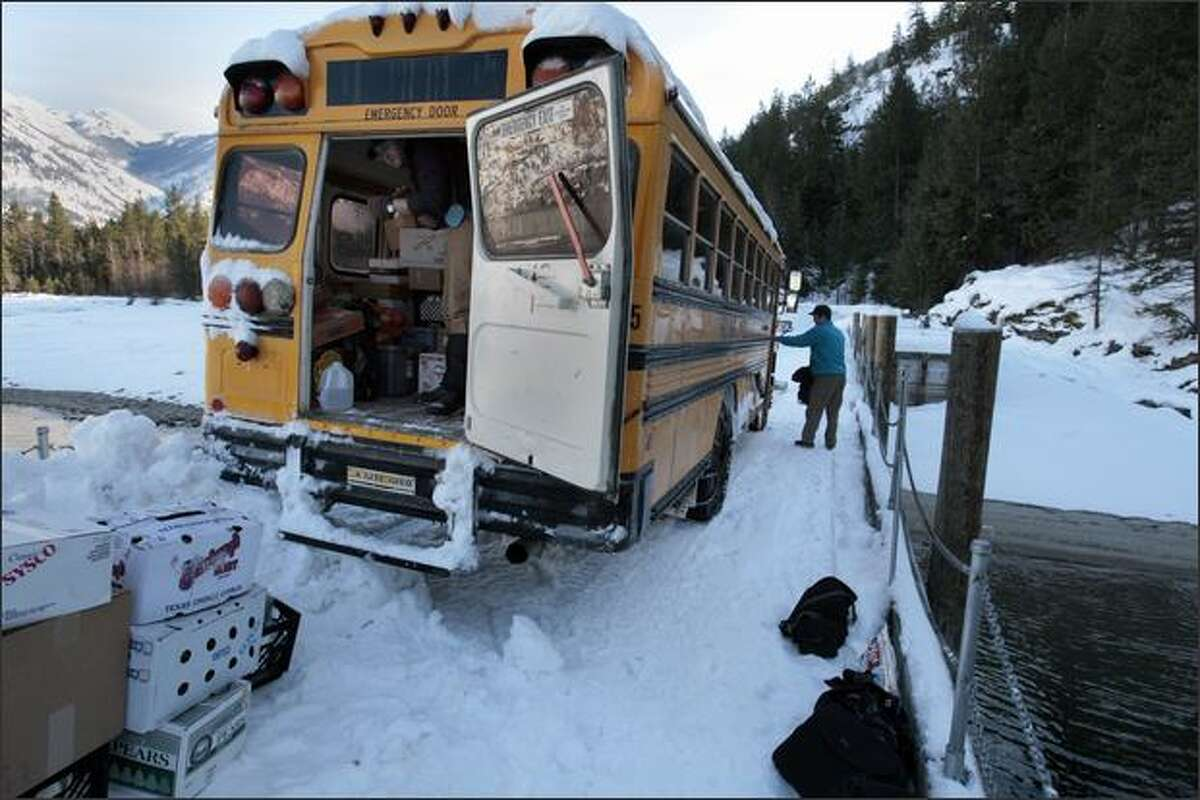 The bus to Holden Village is backed up on the dock and loaded with supplies and guests on January 18, 2008. Holden Village is an ecumenical retreat center rooted in the Lutheran tradition, accessed by boat and an 11 mile bus ride.