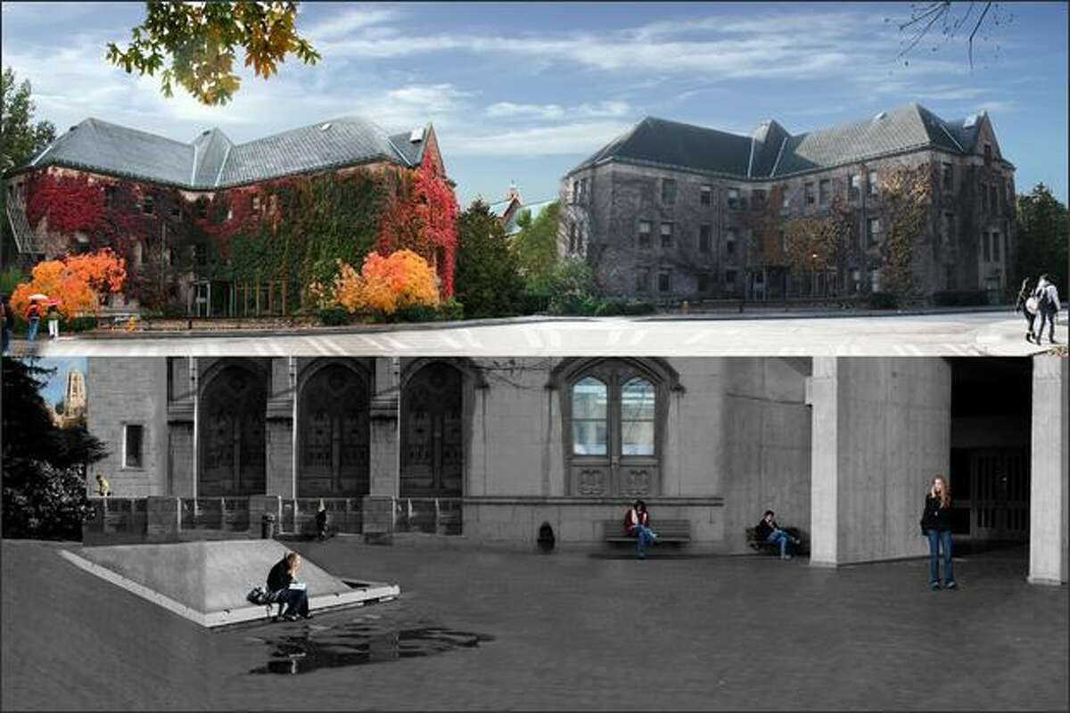 A north-campus building at the start of fall quarter, and the same building months later and a series of photos of students in the UW's Red Square.
