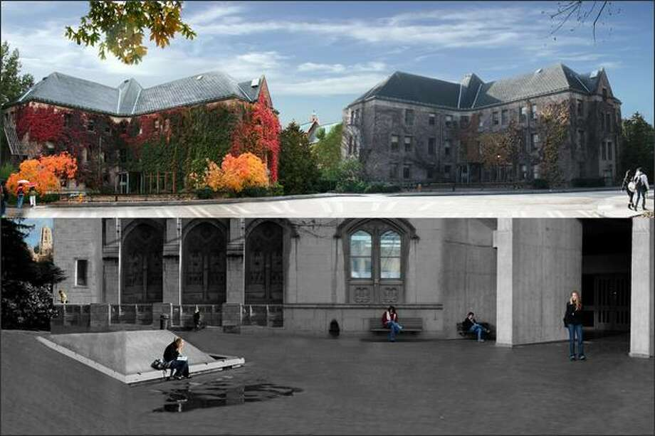 "A north-campus building at the start of fall quarter, and the same building months later and a series of photos of students in the UW's Red Square. ""Between the two (images), over a dozen photos were integrated into the final product,"" photographer Molly Blank said."