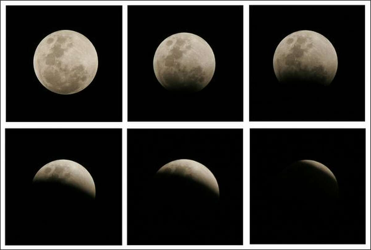 This sequence of six photos shows the moon during an eclipse seen from Panama City,Panama. The last total lunar eclipse until 2010 occurred Wednesday night, with cameo appearances by Saturn and the bright star Regulus on either side of the veiled full moon. AP Photo/Arnulfo Franco