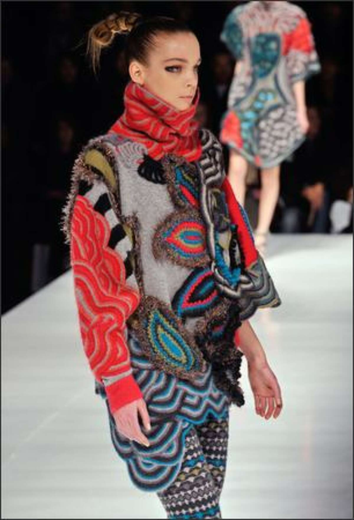 A model presents a creation by Italian designer Antonio Marras for Kenzo during the autumn/winter 2008-2009 ready-to-wear collection show in Paris.