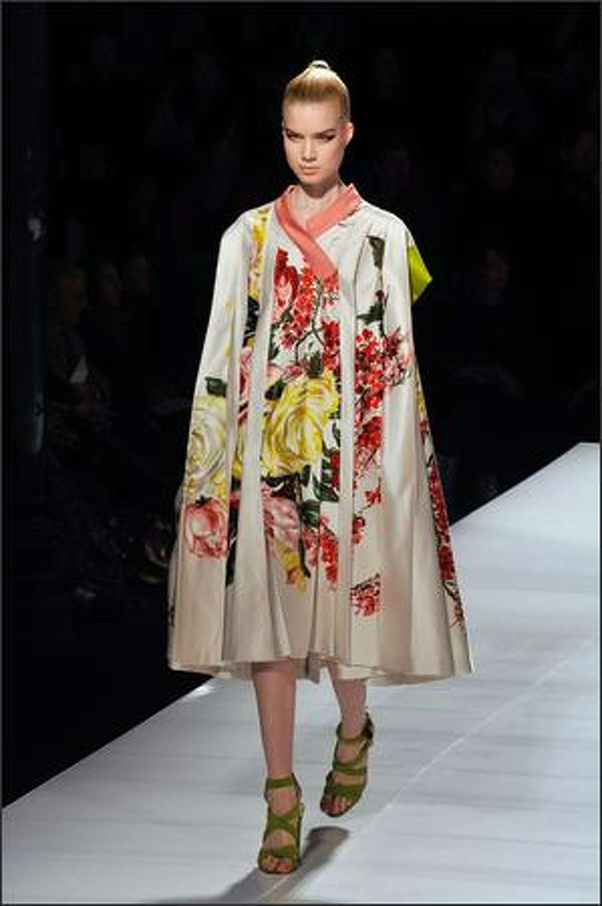 A model presents a creation by Antonio Marras for Kenzo.