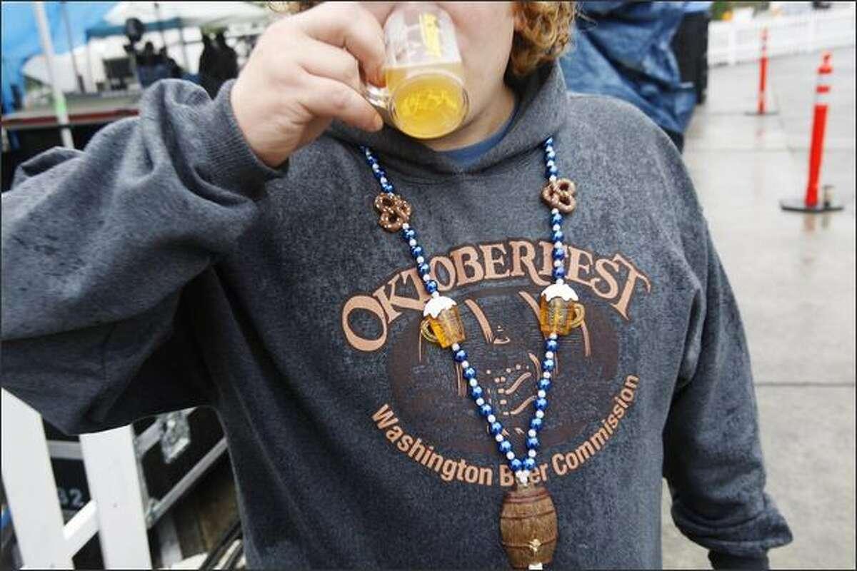Tony Newton enjoys a beer.