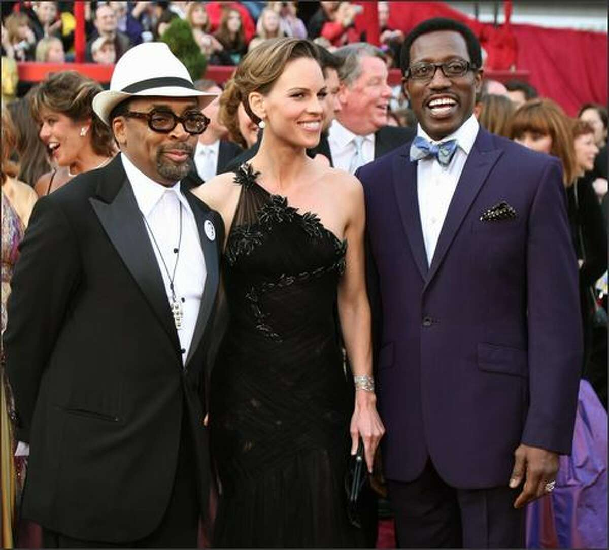 Spike Lee, Hillary Swank and Wesley Snipes arrives for the 80th Annual Academy Awards at the Kodak Theater in Hollywood, California.