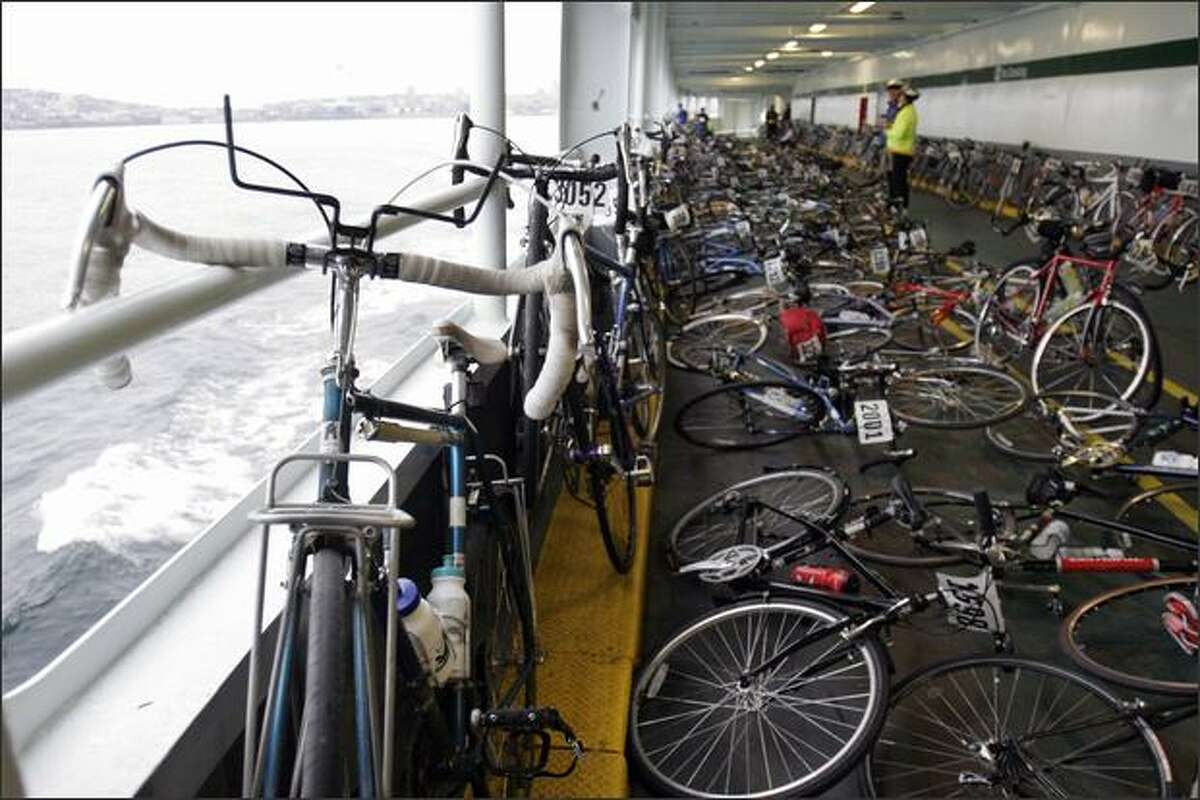 Approximately 1550 bikes grace the deck of the 7:55am Seattle ferry to Bainbridge Island for the 36th annual