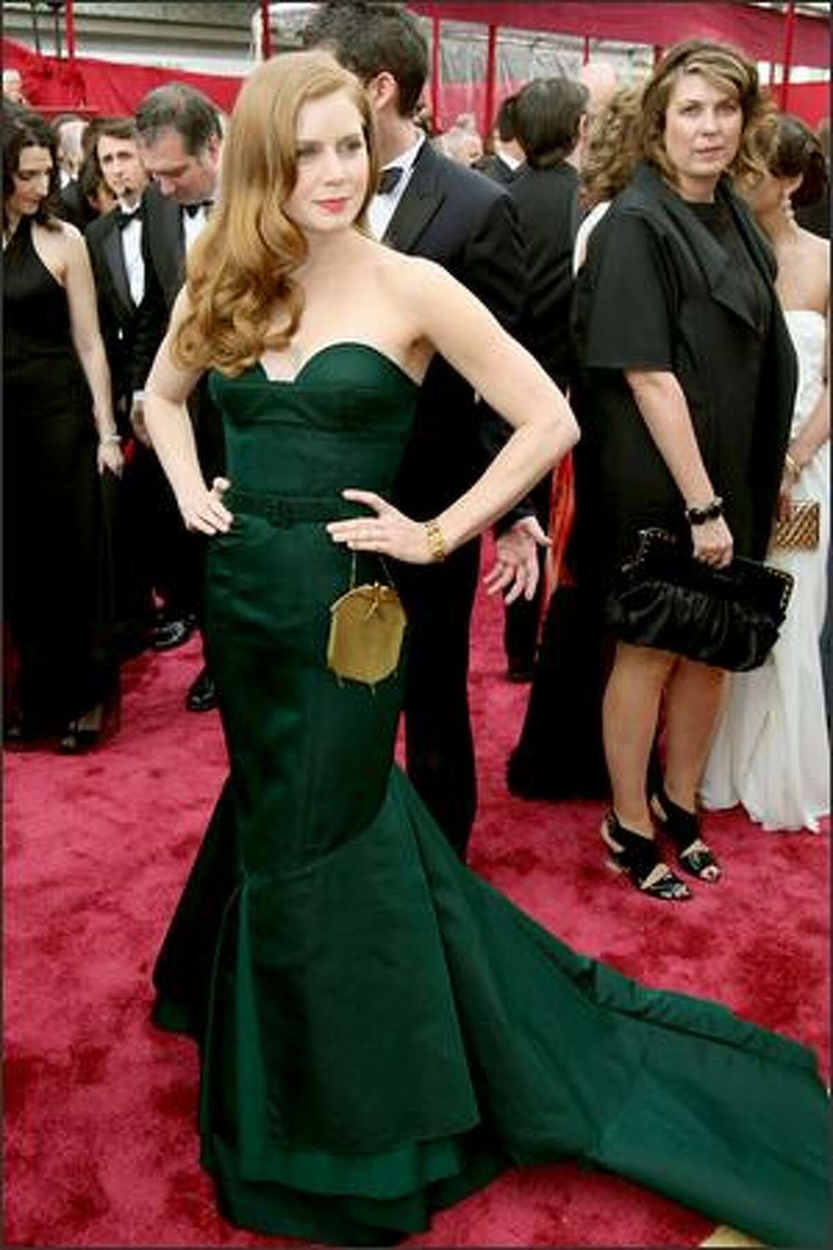Amy Adams arrives for the 80th Annual Academy Awards at the Kodak Theater in Hollywood, California.