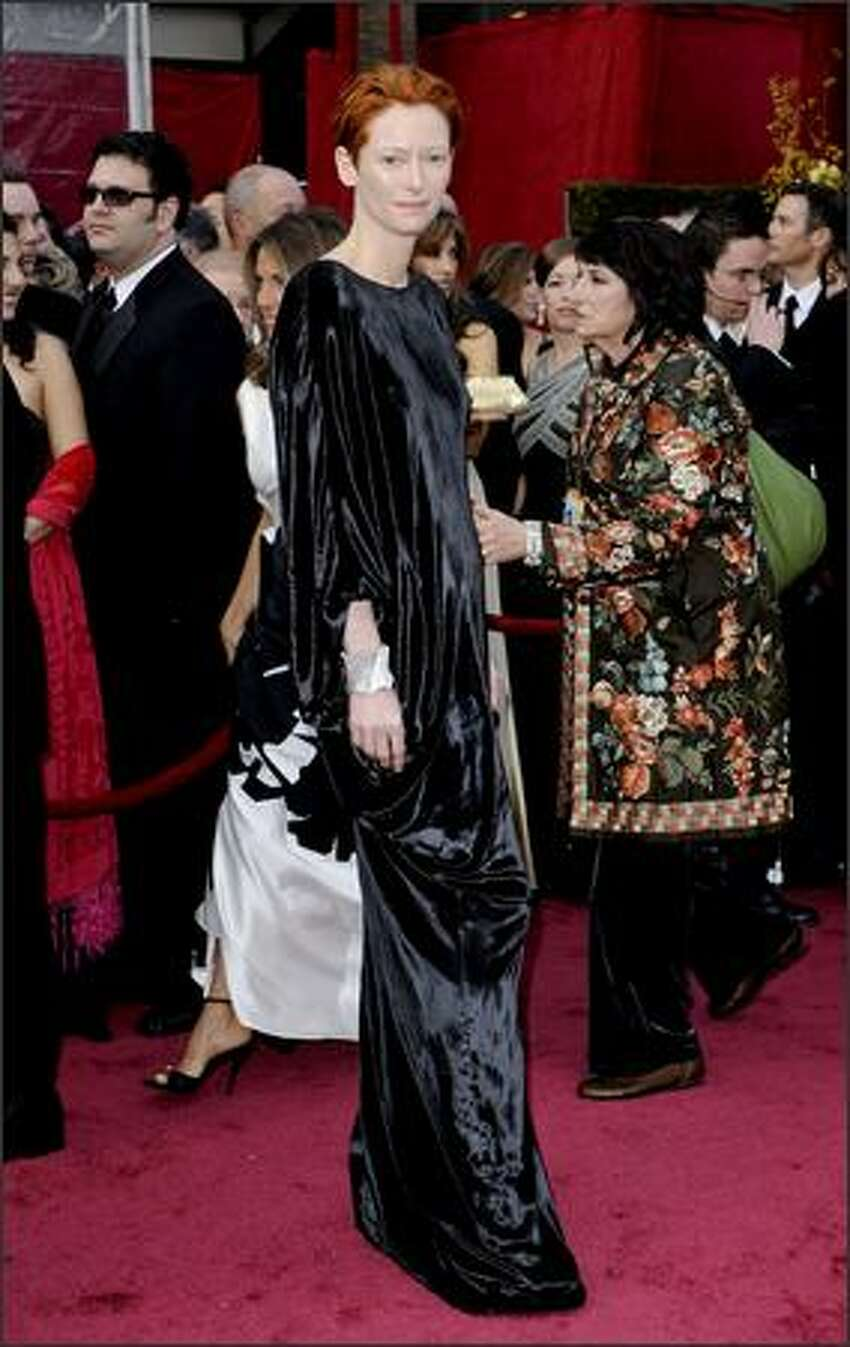 British actress Tilda Swinton, nominated for an Oscar for best actress in a supporting role for her work in