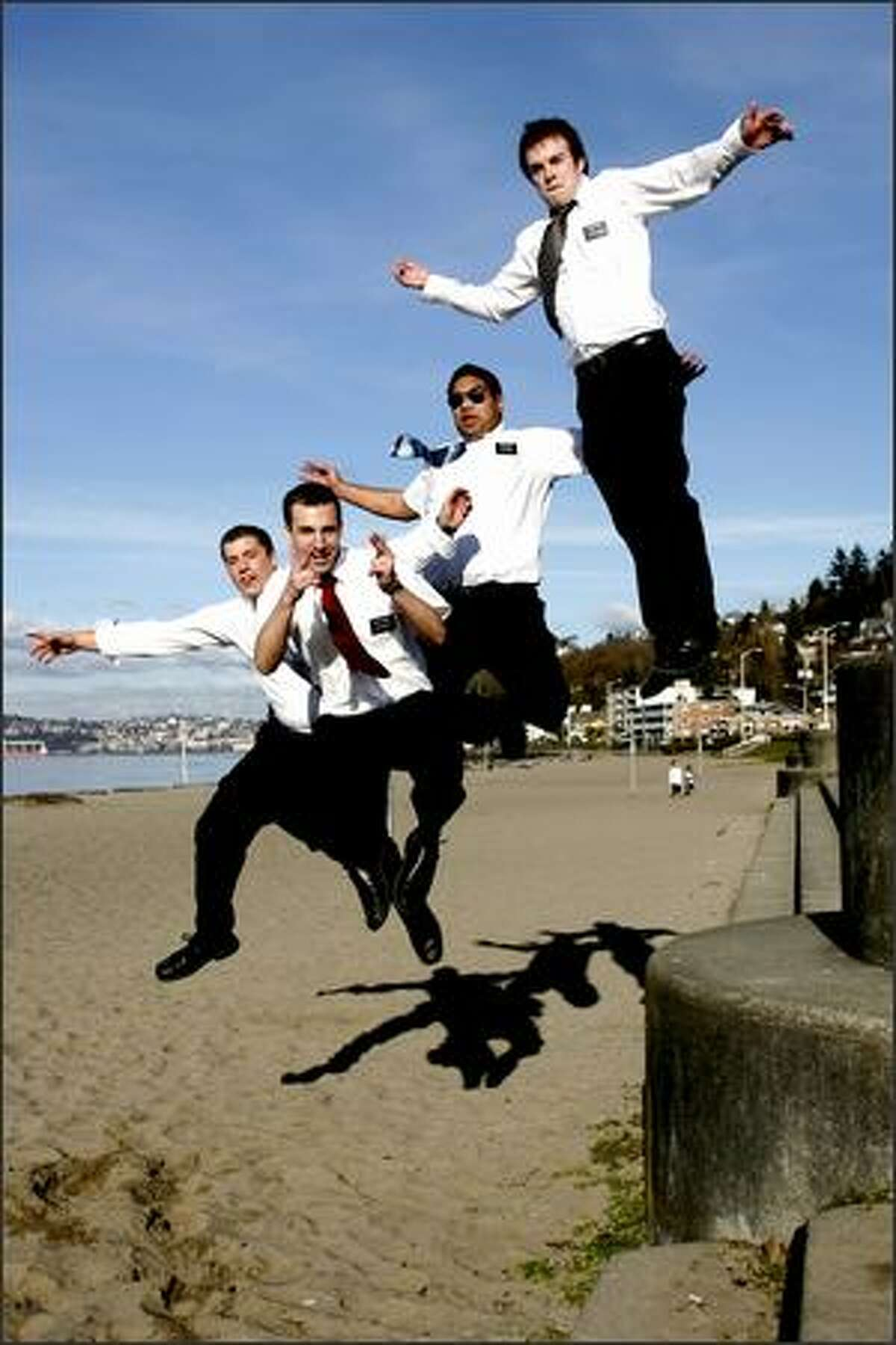 Missionaries from The Church of Jesus Christ of Latter-day Saints, from left, Elders Beck, Cochkrell, Samani and Scott leap in honor of Leap Day at Alki Beach. Urban: I was doing a funky little photo essay on Leap Year. I drove around the entire city asking folks to give me their best leap. I was amazed how jazzed these guys were about the concept. It took only about four tries to get this photo. They were great sports.