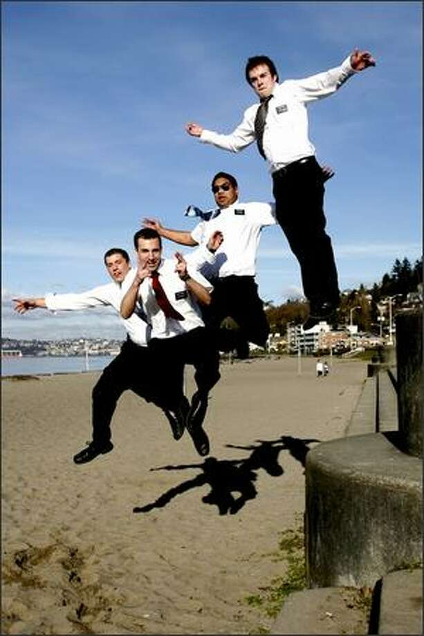 Missionaries from The Church of Jesus Christ of Latter-day Saints, from left, Elders Beck, Cochkrell, Samani and Scott leap in honor of Leap Day at Alki Beach. Urban: I was doing a funky little photo essay on Leap Year. I drove around the entire city asking folks to give me their best leap. I was amazed how jazzed these guys were about the concept. It took only about four tries to get this photo. They were great sports. Photo: Mike Urban, Seattle Post-Intelligencer