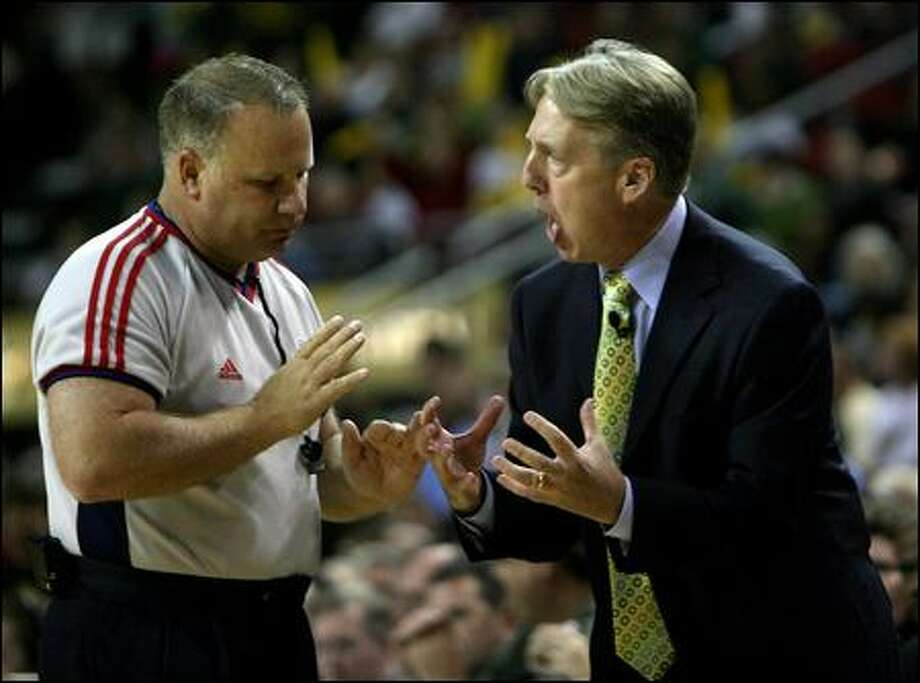 Storm coach Brian Agler argues with a referee in the first quarter. Photo: Scott Eklund/Seattle Post-Intelligencer