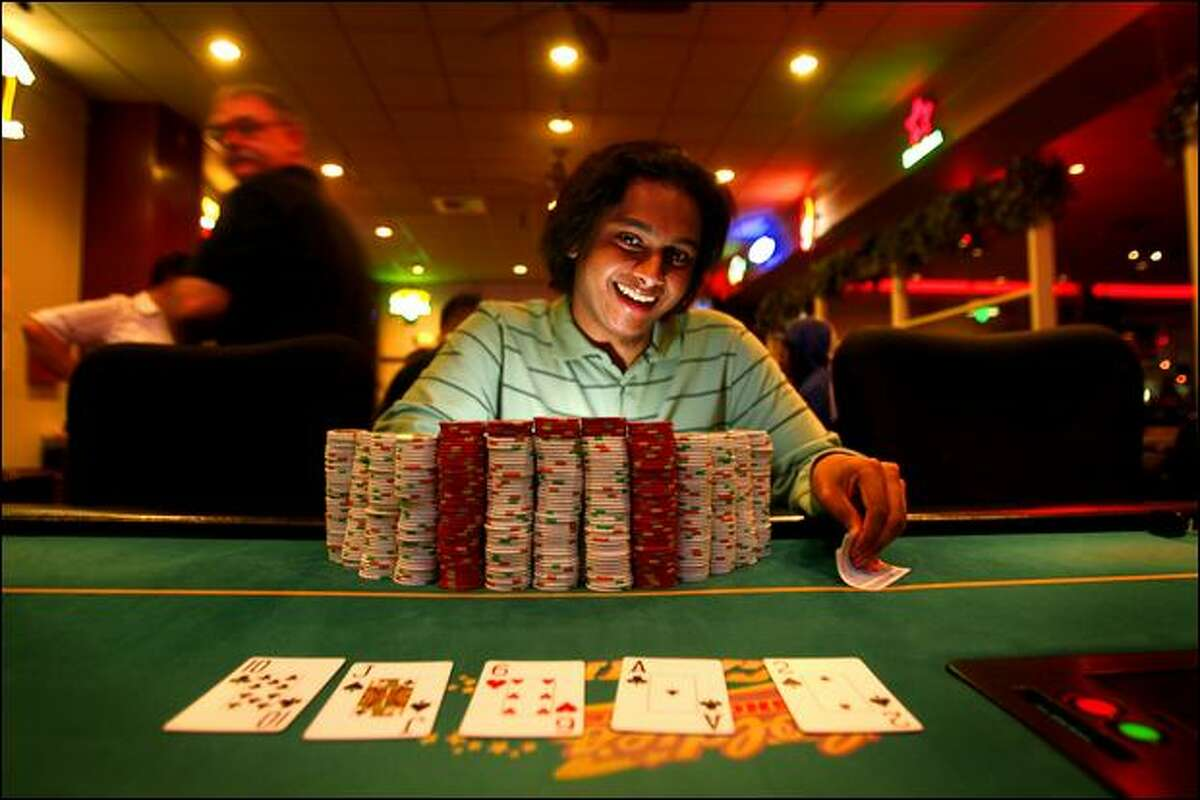 Vivek Rajkumar, 22, of Seattle, shown at Goldie's Shoreline Casino, won first place and $1.4 million last week at the Borgata Poker Open in Atlantic City, N.J.