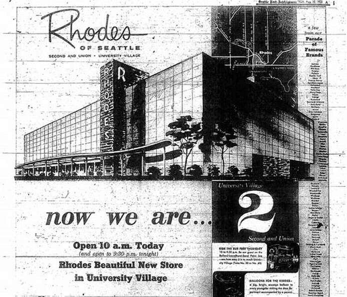 An Aug. 30, 1956 Rhodes department store ad for the new University Village store.