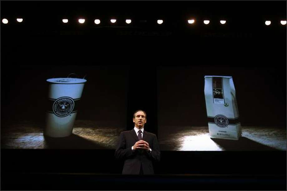 Starbucks chairman, president and CEO Howard Schultz introduces the company's newest coffee, Pike Place Roast, which he claimed is the best in the world, to shareholders gathered at McCaw Hall in Seattle for the company's Annual Meeting of Shareholders. In conjunction, Schultz said that the company will revert to the original logo displayed at the Pike Place store on future packaging. Photo: Andy Rogers, Seattle Post-Intelligencer