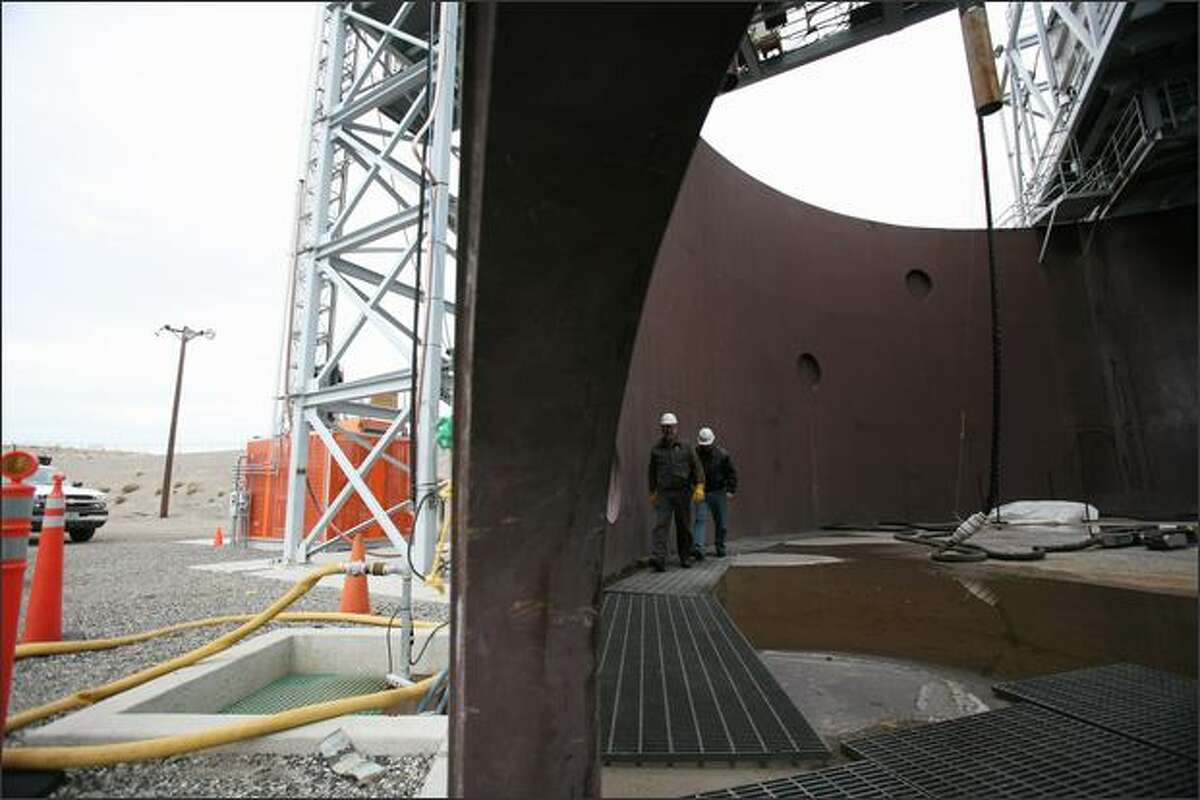 The tank at Hanford's Cold Test Facility simulates a one million gallon single-shelled storage tank. There are 149 single-shelled tanks at Hanford, at least 67 have leaked.