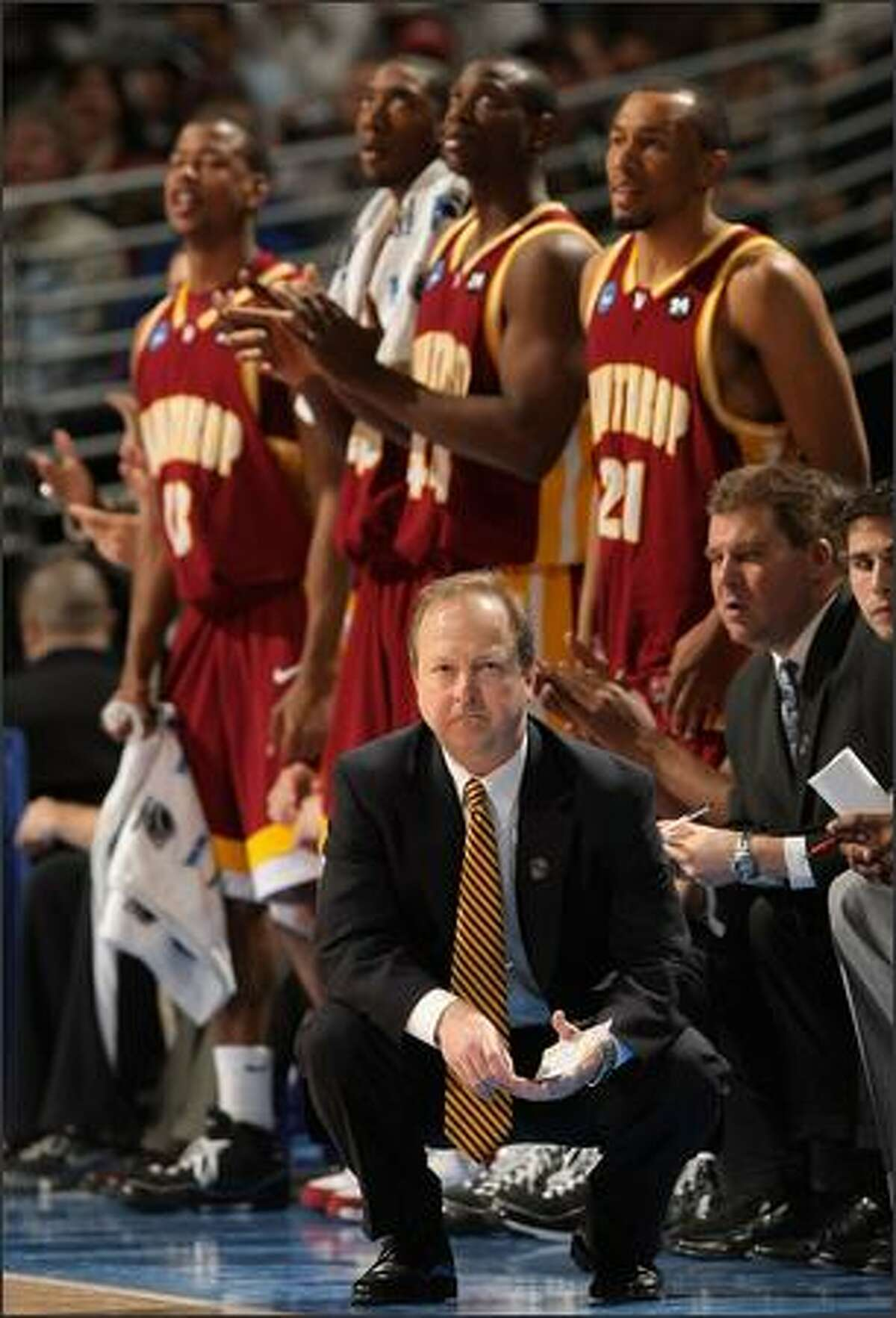 Head coach Randy Peele of the Winthrop Eagles calls a play during the first round game of the East Regional against the Washington St. Cougars as part of the 2008 NCAA Men's Basketball Tournament at Pepsi Center in Denver, Colorado. Photo by Doug Pensinger/Getty Images