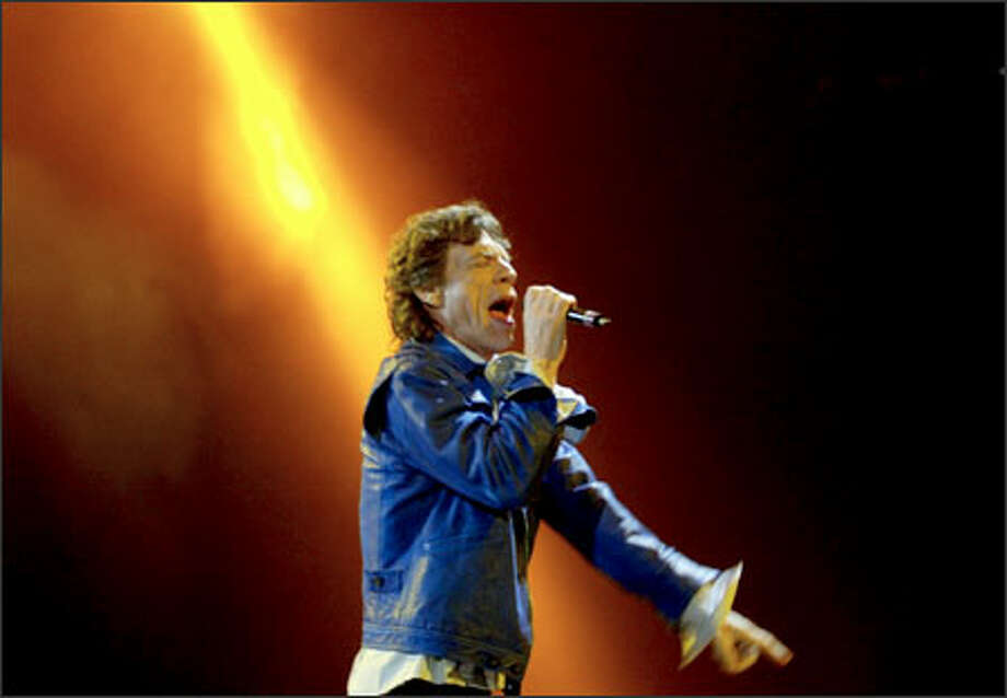 Jagger struts across the stage during the show at the Tacoma Dome. Photo: Grant M. Haller, Seattle Post-Intelligencer