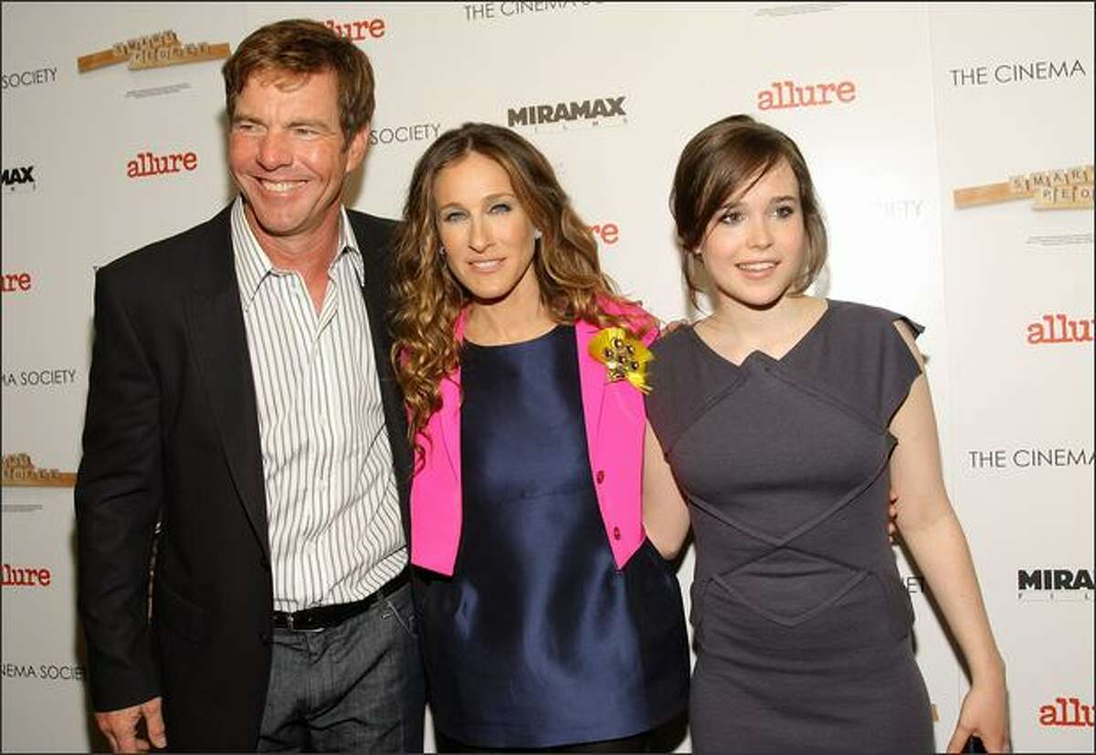 Left to right, Actors Dennis Quaid, Sarah Jessica Parker and Ellen Page attend