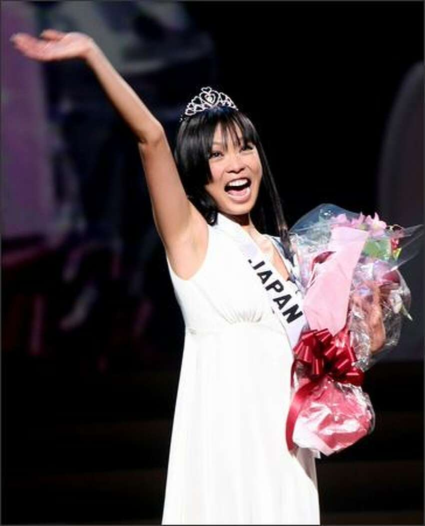 Hiroko Mima celebrates after being chosen as Miss Japan 2008 during Miss Universe Japan 2008 Final Competition