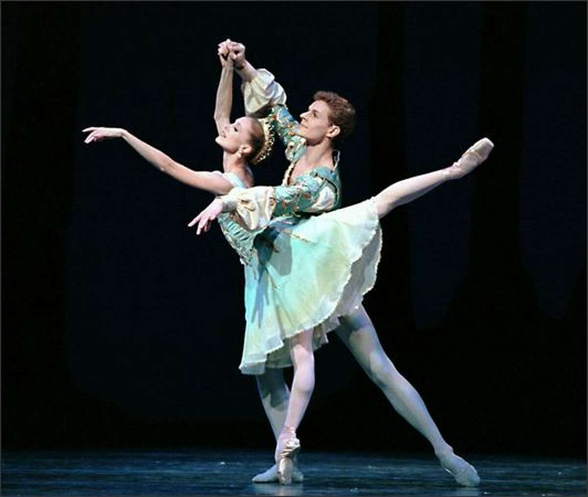 Pacific Northwest Ballet principal dancers Louise Nadeau and Olivier Wevers in George Balanchine's A Midsummer Night's Dream.