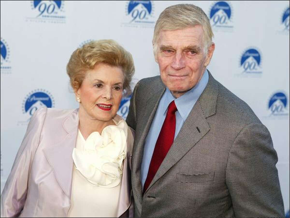 Charlton Heston and his wife Lydia at Paramount Pictures' 90th anniversary celebration