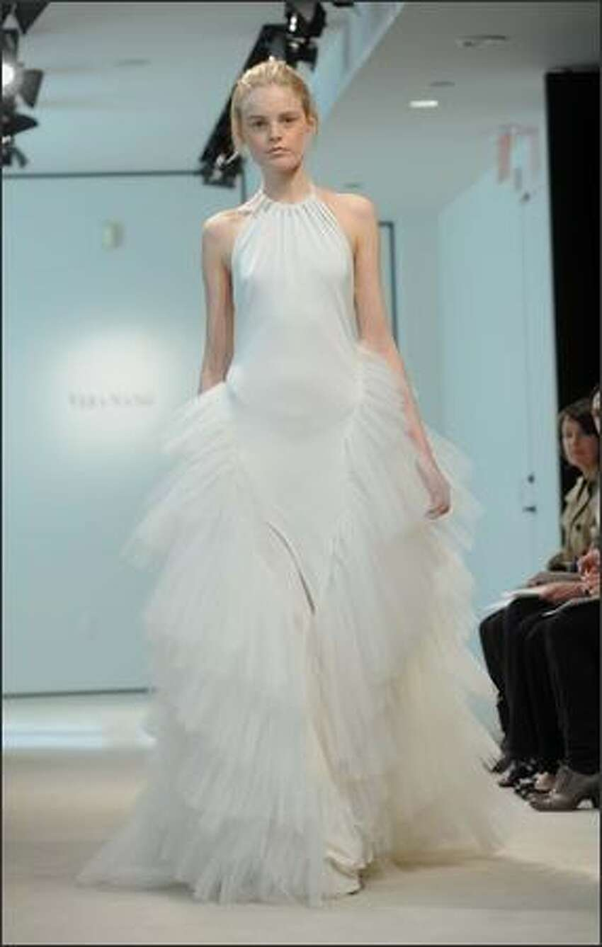 A model walks the runway at the Vera Wang Bridal Show in New York City.